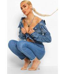skinny jeans met hoge taille en gerafelde zoom, mid blue