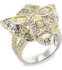 18k goldplated, rhodium-plated & crystal panther ring