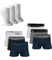 kit com 6 cuecas cotton premium e 3 pares de meias cano curto - polo match masculino