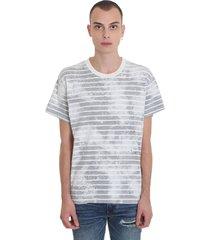 amiri bleached shotgu t-shirt in grey cotton