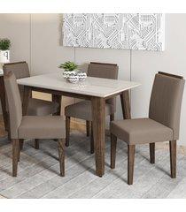 mesa de jantar 4 lugares jade ana 100% mdf castanho/off white - new ceval