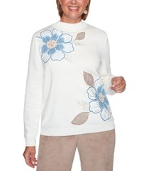 alfred dunner petite dover cliffs floral embroidered sweater