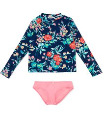 bonpoint floral print long-sleeved tankini - blue