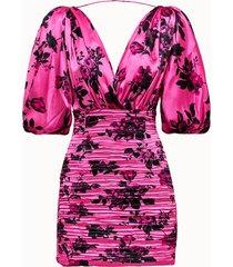 laneus abito in seta rosa motivo flower