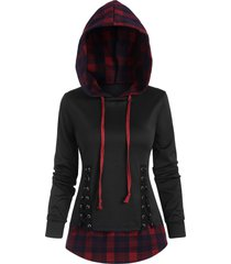 plaid panel lace-up hoodie