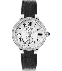 astor vegan stainless steel, diamond & vegan leather strap watch