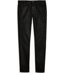 mens black coated spray on skinny jeans