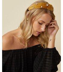 amaro feminino tiara nó com cristal, amarelo escuro