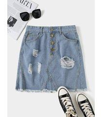 minifalda de mezclilla con dobladillo con borlas rasgadas al azar azul