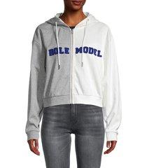 cynthia rowley women's role model colorblock cropped cotton sweatshirt - grey white - size m