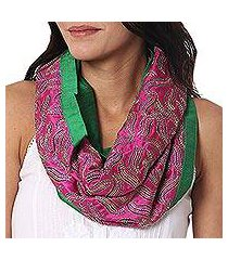 silk infinity scarf, 'creative bliss in magenta' (india)