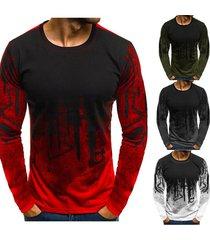 hombres camuflaje impreso hombre t shirt bottoms top tee hombre hiphop-rojo