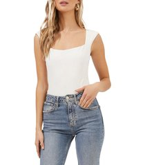 astr the label cap sleeve square neck bodysuit, size x-small in white at nordstrom