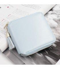 billetera mujeres- monedero pequeño cuadrado simple-azul