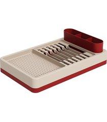 escorredor de louças flat 42x26cm light gray e vermelho bold