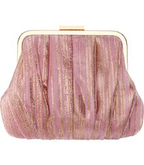 nina metallic stripe frame clutch - pink
