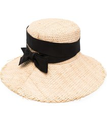 ruslan baginskiy bow-detail straw sun hat - neutrals