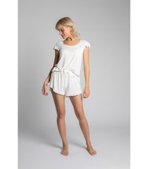 blouse lalupa la023 viscoze top met ruches mouwloos - ecru