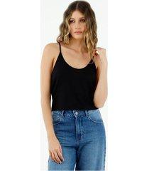 camiseta de mujer, silueta amplia crop, cuello redondo de tiras, color negro