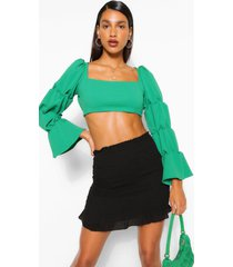 tiered puff sleeve square neck crop top, green
