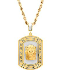 18k goldplated stainless steel sandblast jesus head dog tag pendant necklace