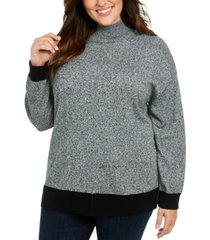 karen scott plus size mock neck cotton sweater, created for macy's