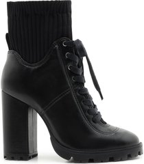 cheryl bootie - 9 black leather and knit