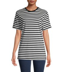 french connection women's striped t-shirt - black white - size l