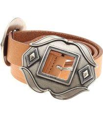 dondup double buckle belt in brown