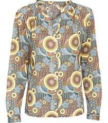 bedrukte blouse, nachtblauw-motief 42