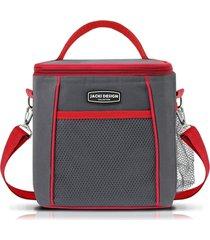 bolsa térmica tam. g lisa quadrada jacki design urbano cinza vermelho .