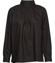 sand t-neck shirt crisp blouse lange mouwen zwart moshi moshi mind