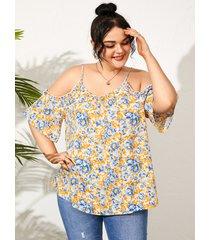 blusa con cordones de calicó con hombros descubiertos y talla grande diseño