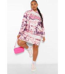 plus boyfriend slogan tie dye hoodie sweat dress, pink