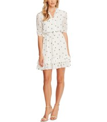 cece embroidered floral fit & flare dress