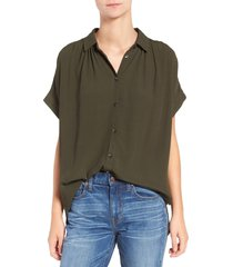 women's madewell central drapey shirt, size x-large - green
