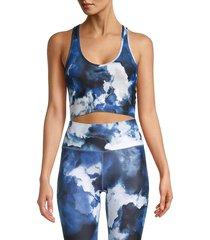 kensie women's tie-dye longline sports bra - blue multi - size s
