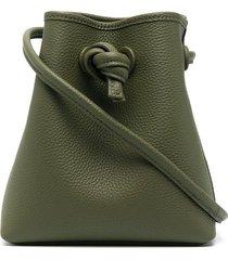 vasic drawstring leather bucket bag - green