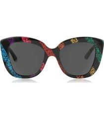 gucci designer sunglasses, oversized rectangular-frame acetate sunglasses