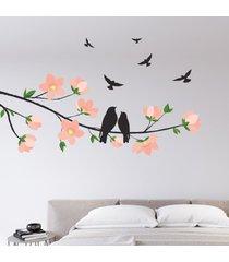 adesivo de parede cerejeira e pã¡ssaros - rosa - dafiti