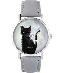 zegarek - czarny kot, szary - szary, skórzany