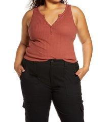 plus size women's bp. textured henley crop tank, size 1x - brown