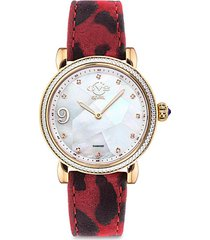 ravenna stainless steel, mother-of-pearl, diamond & animal-print leather-strap watch