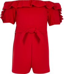 river island red og bardot ruffle playsuit