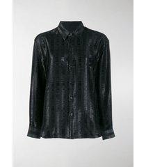 saint laurent shimmer panel shirt