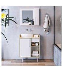 conjunto para banheiro 60cm criando mobilia balcão gb04 + espelheira ep02