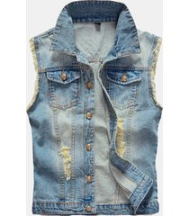 gilet in denim con strappi