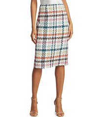 oscar de la renta women's spring tweed pencil skirt - peacock multi - size 10
