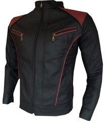 chaqueta cuerotex tipo slim casual negra-roja