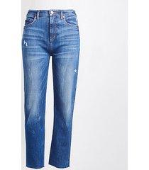 loft petite high rise straight crop jeans in dark indigo